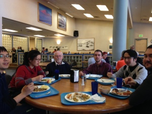 Martin, Abby, McBride, Alex, Alan, and Brent at dinner in McMurdo