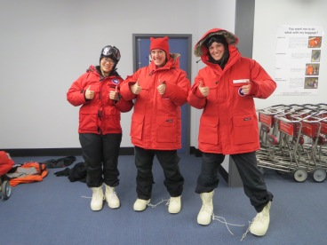 Abby, myself, and Carolyn trying out our extreme cold weather gear