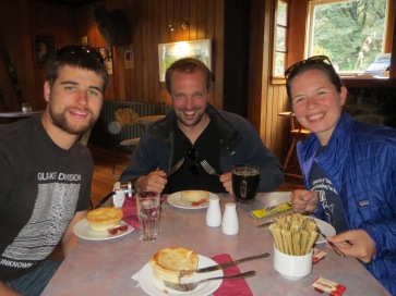Rob, Harm and Stephanie and our meat pies. Everyone was really excited about them