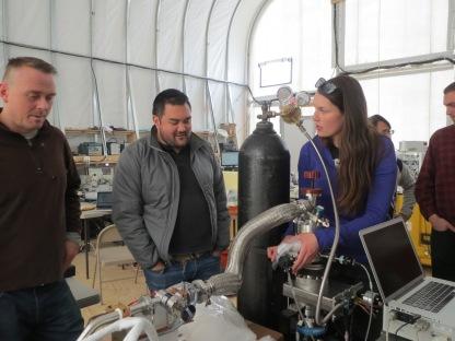Carolyn working on the cryostat
