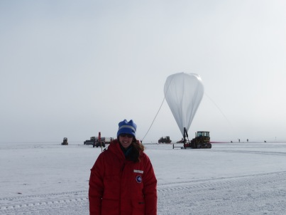 Me in front of the balloon during inflation